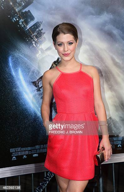 Actress Katie Garfield poses on arrival for the Los Angeles Premiere of Project Almanac on January 27 2015 in Hollywood California The film opens...