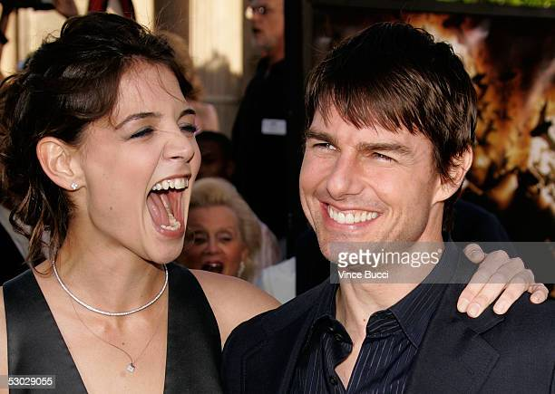 Actress Katie Holmes and Actor Tom Cruise arrive at the premiere of 'Batman Begins' at Grauman's Chinese Theatre on June 06 2005 in Hollywood...