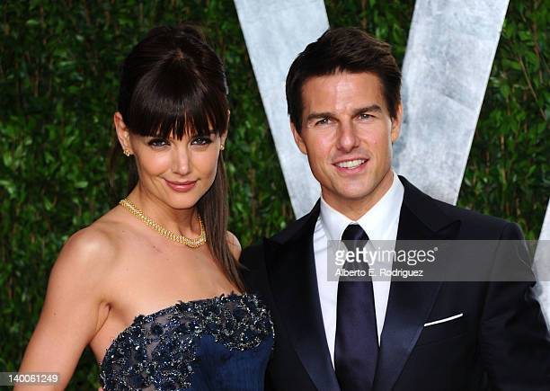 Actress Katie Holmes and actor Tom Cruise arrives at the 2012 Vanity Fair Oscar Party hosted by Graydon Carter at Sunset Tower on February 26 2012 in...