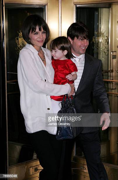 Actress Katie Holmes and actor Tom Cruise sighting with daughter Suri Cruise in New York City on January 14 2008