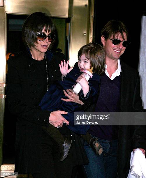 Actress Katie Holmes and actor Tom Cruise sighting with daughter Suri Cruise on January 16 2008 in New York City