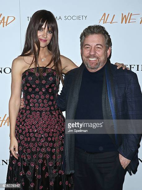 Actress Katie Holmes and CEO of Cablevision Systems Corporatio James Dolan attend the screening of All We Had hosted by The Cinema Society and...