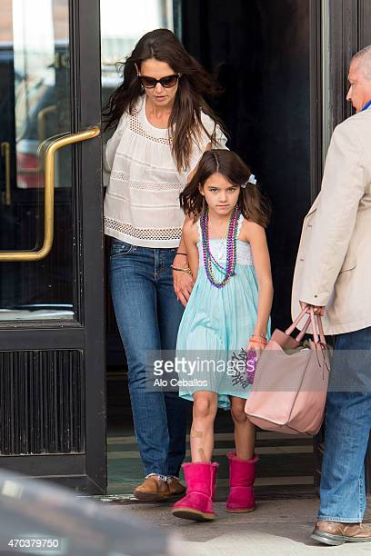 Actress Katie Holmes and daughter Suri Cruise celebrate Suri's ninth birthday at the Gilded Lily on April 18 2015 in New York City