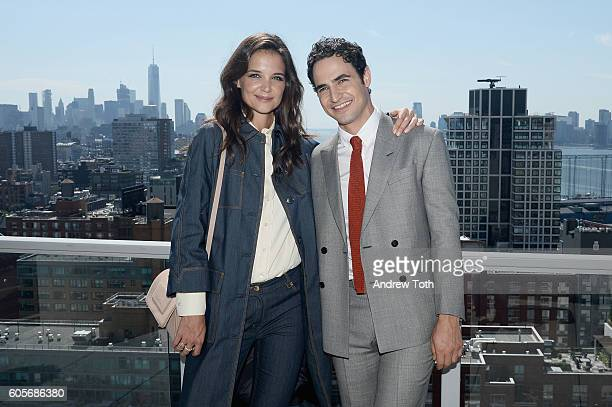 Actress Katie Holmes and designer Zac Posen attend the Brooks Brothers SS 2017 Presentation during New York Fashion Week with creative director Zac...