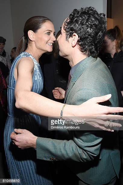 Actress Katie Holmes and designer Zac Posen pose backstage at the Zac Posen Fall 2016 fashion show during New York Fashion Week at Spring Studios on...