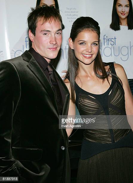 """Actress Katie Holmes and fiance Chris Klein attend a special screening of """"First Daughter"""" hosted by Seventeen Magazine on September 22, 2004 at the..."""