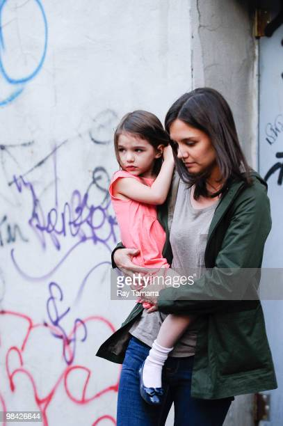 Actress Katie Holmes and her daughter Suri Cruise leave the 'Son Of No One' movie set in the Bronx on April 12 2010 in New York City