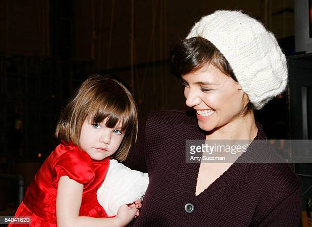 Actress Katie Holmes and her daughter Suri visit The Nutcracker at the New York City Ballet on December 14 2008 in New York City