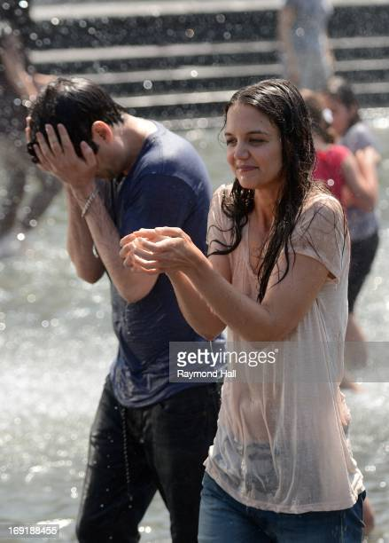 Actress Katie Holmes and Luke Kirby are seen on the set of Mania Days in Washington Square Park on May 21 2013 in New York City