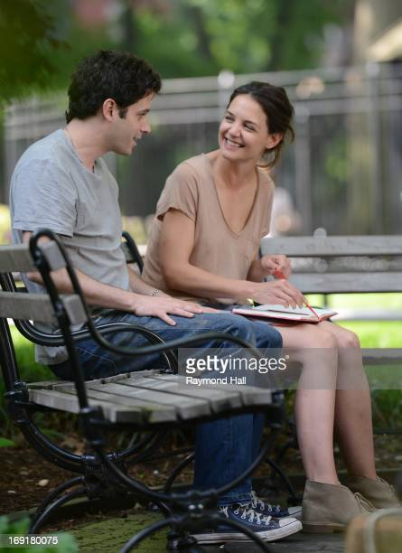 Actress Katie Holmes and Luke Kirby are seen on the set of Mania Daysn May 21 2013 in New York City