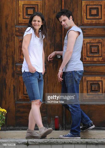 Actress Katie Holmes and Luke Kirby as seen on the set of Mania Days on May 14 2013 in New York City