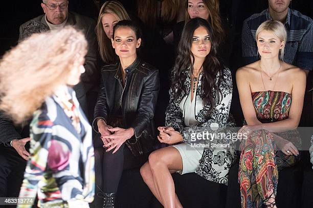 Actress Katie Holmes and model Adriana Lima and Lena Gercke attend Desigual show during MercedesBenz Fashion Week Fall 2015 at The Theatre at Lincoln...