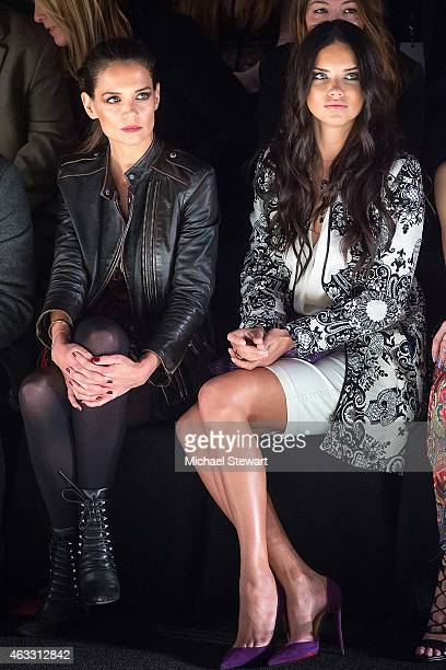 Actress Katie Holmes and model Adriana Lima attend Desigual show during MercedesBenz Fashion Week Fall 2015 at The Theatre at Lincoln Center on...