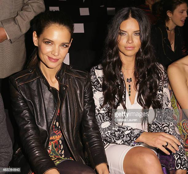 Actress Katie Holmes and model Adriana Lima attend the Desigual fashion show during MercedesBenz Fashion Week Fall 2015 at The Theatre at Lincoln...