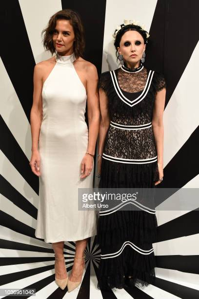 Actress Katie Holmes and Stacey Bendet pose at the Alice Olivia by Stacey Bendet presentation during New York Fashion Week on September 11 2018 in...