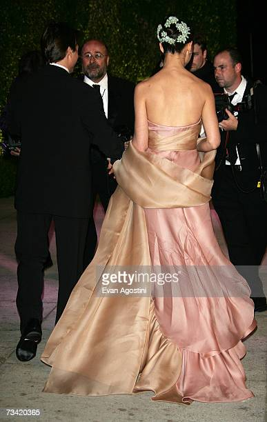 Actress Katie Holmes arrives at the 2007 Vanity Fair Oscar Party at Mortons on February 25 2007 in West Hollywood California
