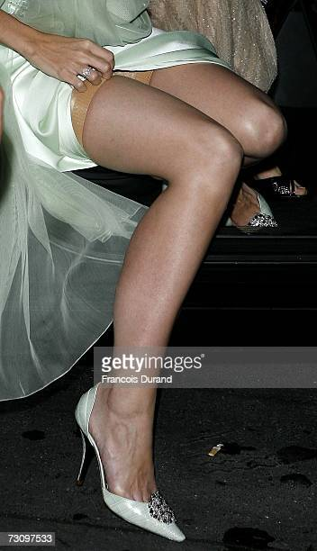 S actress Katie Holmes arrives at the Gorgio Armani show as part of Paris Fashion Week Spring/Summer 2007 on January 24 2007 in Paris France