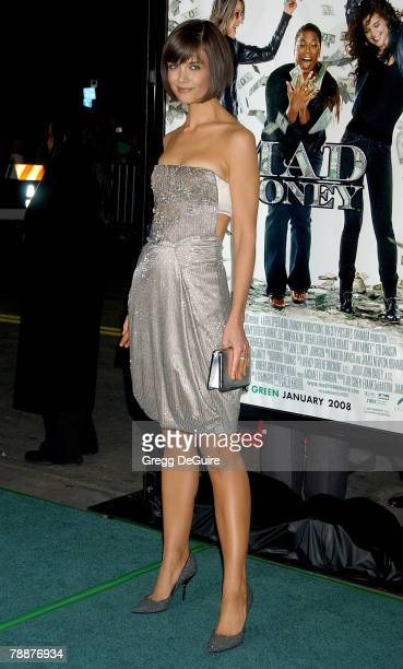 """Actress Katie Holmes arrives at the """"Mad Money"""" premiere at Mann Village Theater on January 9, 2008 in Westwood, California."""