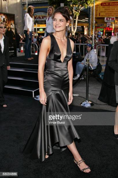 Actress Katie Holmes arrives at the premiere of Batman Begins at Grauman's Chinese Theatre on June 06 2005 in Hollywood California