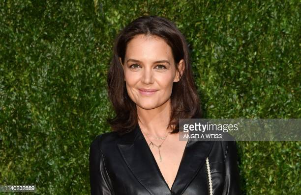 US actress Katie Holmes arrives for the 14th Annual Tribeca Film Festival Artists Dinner hosted by Chanel at Balthazar restaurant on April 29 2019 in...