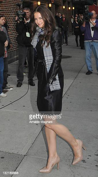 Actress Katie Holmes arrives to 'Late Show With David Letterman' at the Ed Sullivan Theater on November 10 2011 in New York City