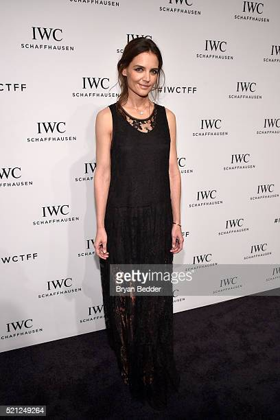 """Actress Katie Holmes attends the 4th Annual IWC Schaffhausen """"For The Love Of Cinema"""" dinner at Spring Studios on April 14, 2016 in New York City."""