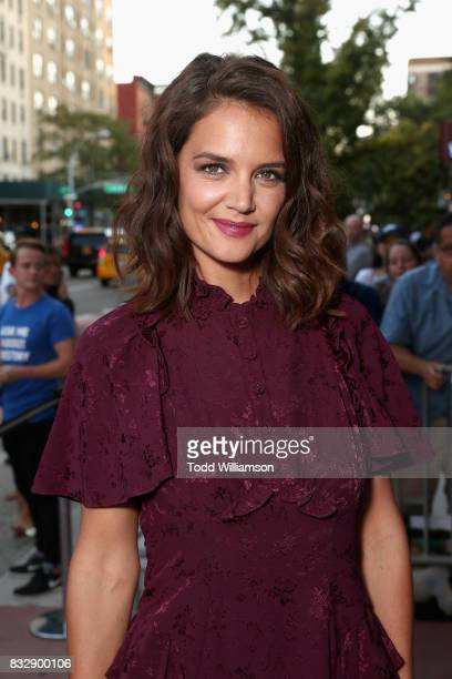 Actress Katie Holmes attends the blue carpet premiere of Amazon Prime Video original series 'The Tick' at Village East Cinema on August 16 2017 in...