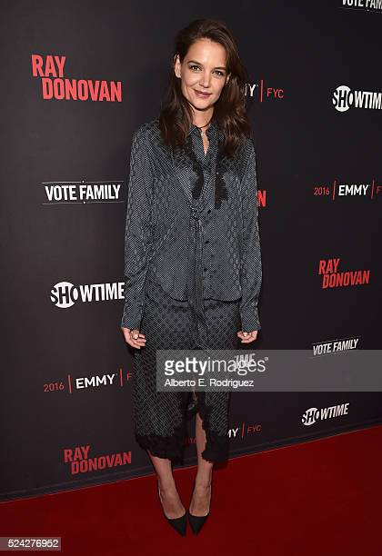 Actress Katie Holmes attends the For Your Consideration screening and panel for Showtime's 'Ray Donovan' at Paramount Theatre on April 25 2016 in...