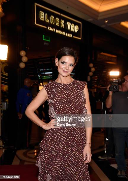 Actress Katie Holmes attends the grand opening of Black Tap Craft Burgers Beer at The Venetian Las Vegas on December 29 2017 in Las Vegas Nevada