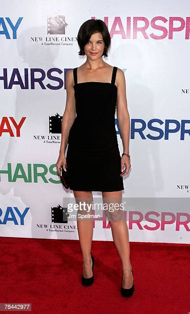 Actress Katie Holmes attends the Hairspray premiere presented by New Line Cinema at the Ziegfeld Theatre on July 16 2007 in New York City