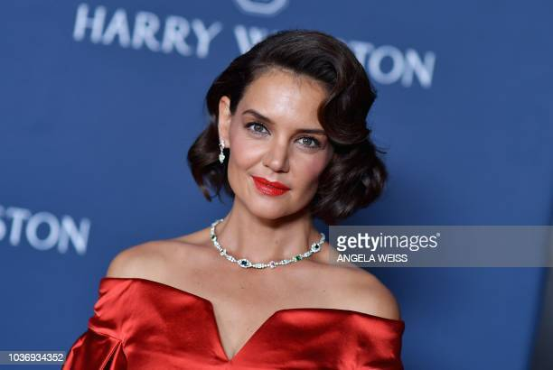 US actress Katie Holmes attends the 'New York Collection' by Harry Winston event at The Rainbow Room on September 20 2018 in New York City