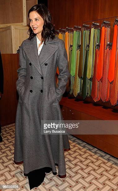 Actress Katie Holmes attends the opening of the first Hermes Men's Store on Madison Avenu on February 9, 2010 in New York City.