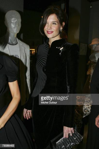 Actress Katie Holmes attends the opening party for the new Giorgio Armani Avenue Montaigne boutique January 23 2007 in Paris France