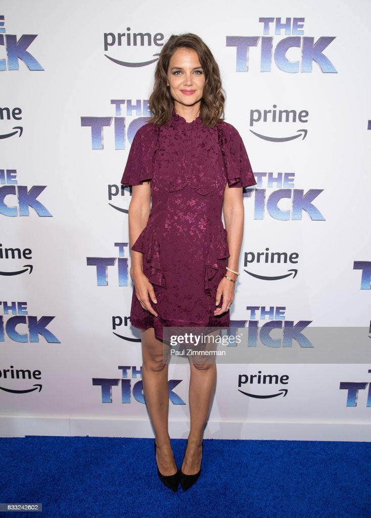 Actress Katie Holmes attends 'The Tick' Blue Carpet Premiere at Village East Cinema on August 16, 2017 in New York City.
