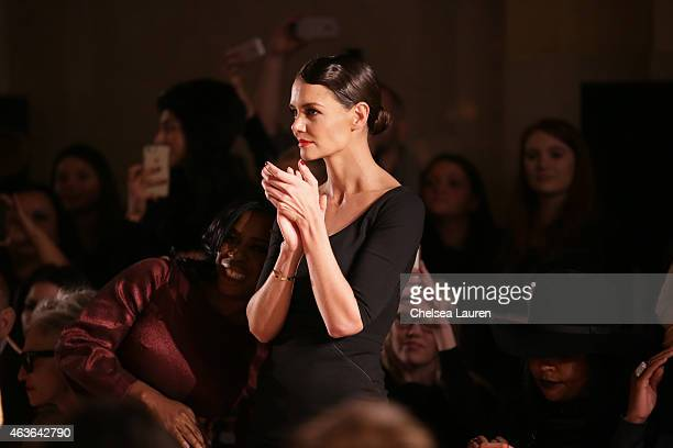 Actress Katie Holmes attends the Zac Posen fashion show at Vanderbilt Hall at Grand Central Terminal on February 16 2015 in New York City