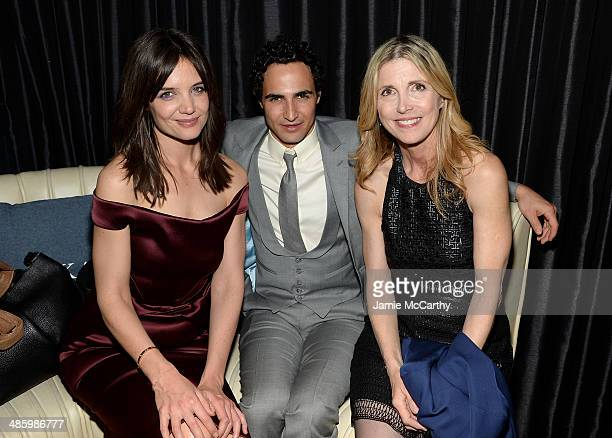 Actress Katie Holmes designer Zac Posen and filmmaker Karen Leigh Hopkins attend the Miss Meadows Premiere after party during the 2014 Tribeca Film...