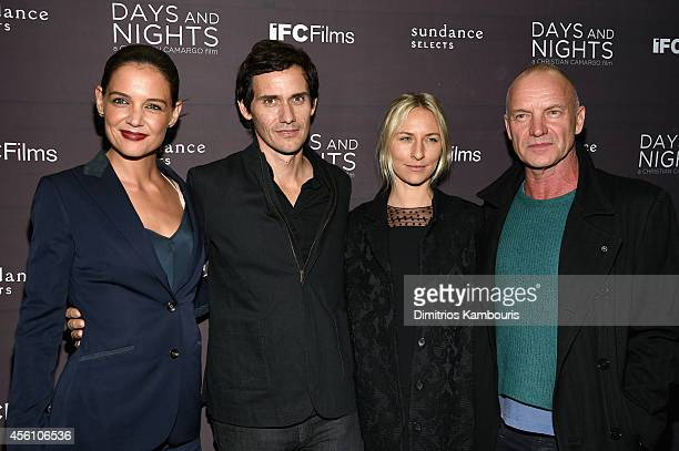Actress Katie Holmes filmmaker Christian Camargo actress Mickey Sumner and musician Sting attend the premiere of Days And Nights at the IFC Center on...