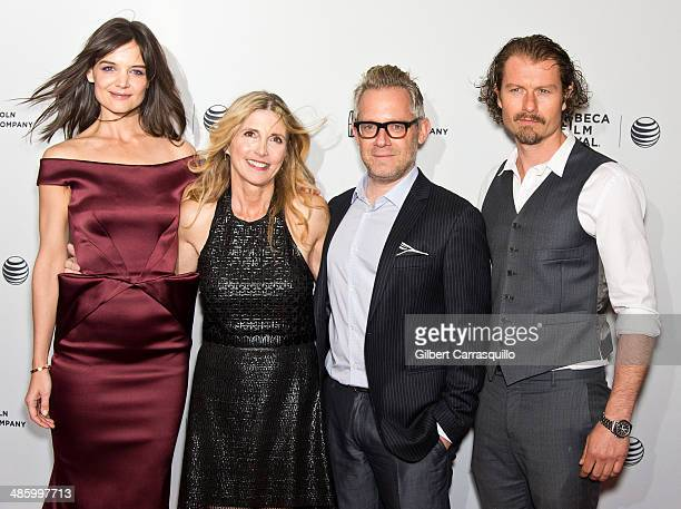 Actress Katie Holmes filmmaker Karen Leigh Hopkins producer Rob Carliner and actor James Badge Dale attend the screening of Miss Meadows during the...