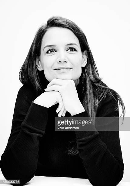 Actress Katie Holmes is photographed at a press conference for 'Miss Meadows' at the Four Seasons hotel on November 18 2014 in Beverly Hills...