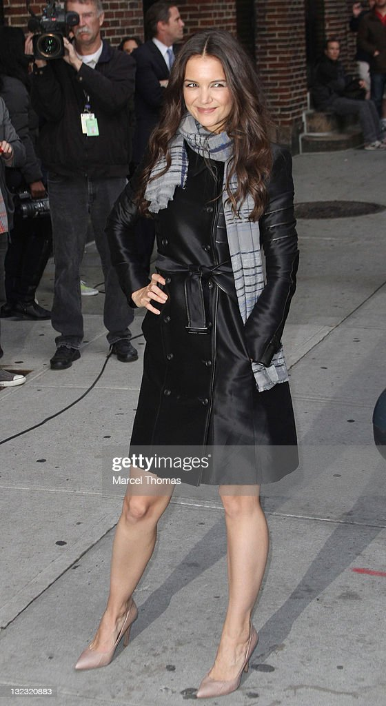 Actress Katie Holmes is seen arriving at the 'Late Show With David Letterman' at the Ed Sullivan Theater on November 10, 2011 in New York City.