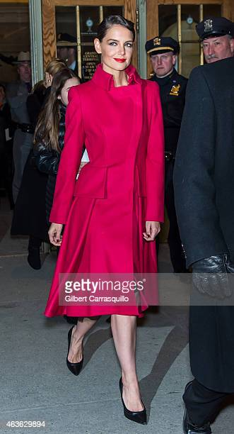 Actress Katie Holmes is seen arriving at Zac Posen fashion show during Mercedes-Benz Fashion Week Fall 2015 at Vanderbilt Hall at Grand Central...