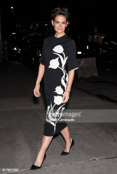 Actress Katie Holmes is seen arriving to the Carolina Herrera fashion show during New York Fashion Week at the Museum of Modern Art on February 12...