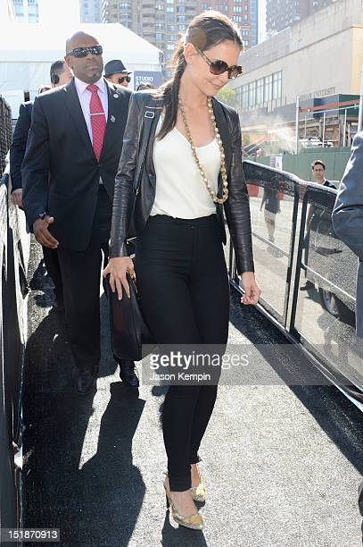 Actress Katie Holmes is seen during Spring 2013 MercedesBenz Fashion Week at Lincoln Center for the Performing Arts on September 12 2012 in New York...