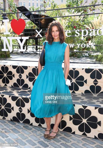 Actress Katie Holmes is seen during the Kate Spade New York Popup Installation VIP Opening Party for NYFW: The Shows at Gansevoort Plaza on September...