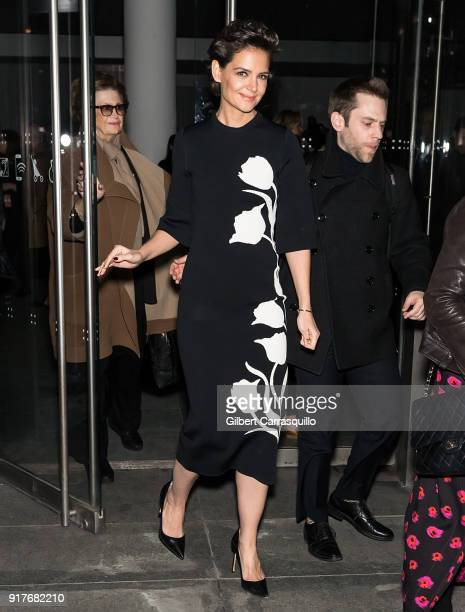 Actress Katie Holmes is seen leaving the Carolina Herrera fashion show during New York Fashion Week at the Museum of Modern Art on February 12 2018...