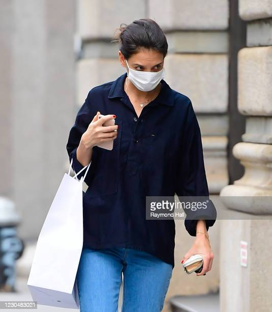 Actress Katie Holmes is seen walking in SoHo on January 8, 2021 in New York City.