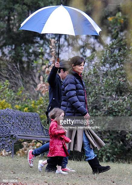 Actress Katie Holmes is seen with her daughter Suri Cruise whilst filming on the set of horror film 'Don't Be Afraid Of The Dark' at Mount Macedon on...