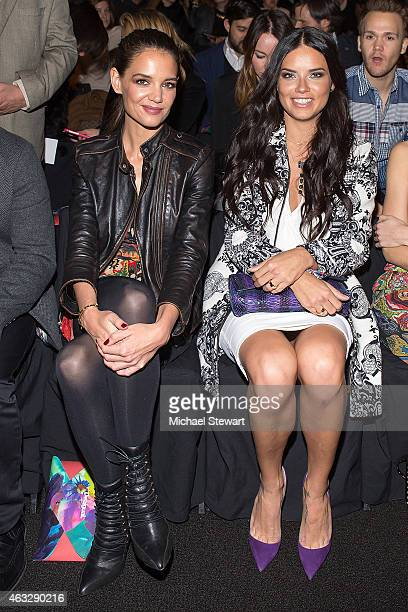 Actress Katie Holmes model Adriana Lima attend Desigual show during MercedesBenz Fashion Week Fall 2015 at The Theatre at Lincoln Center on February...