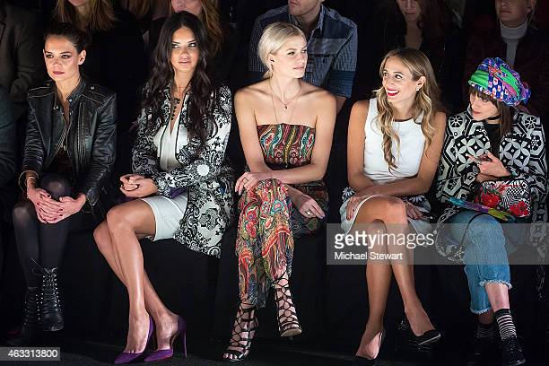 Actress Katie Holmes model Adriana Lima Lena Gercke Harley VieraNewton and Langley Fox Hemingway attend Desigual show during MercedesBenz Fashion...