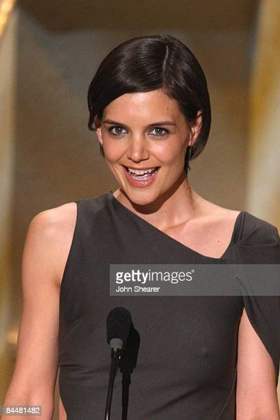 Actress Katie Holmes on stage at the TNT/TBS broadcast of the 15th Annual Screen Actors Guild Awards at the Shrine Auditorium on January 25 2009 in...